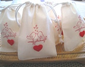 """75 young love... wedding bridal anniversary engagement party favor gift bag drawstring pouches 6"""" x 4"""""""
