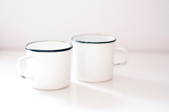Vintage Enamel Mugs - set of 2 - white - made in Soviet Union