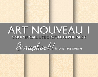 INSTANT DOWNLOAD Art Nouveau Wallpaper Digital Collage Sheets 12x12 inch Set of 8 Digital Papers Cream Commercial Use Kit SDTE0008