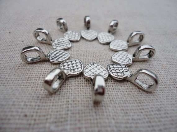 50 pcs Alloy Glue on Flat Pad Bails, Tibetan Style, Cadmium Free & Lead Free, Antique Silver Color, Size about 8mm x 8mm x 1mm hole 4mm
