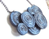 Deja-7 Necklace in Marine,  paper beads made of recycled newspapers and hand painted