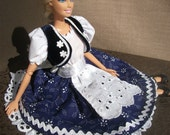 Blue Barbie dress with hungarian style, handmade