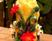 Candle holder from papier mache and flowers white red daisy from polymer clay home decor