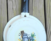 Milk Can Scene Handpainted on Vintage Enamal/Porcelain Sauce Pan, Country Decor
