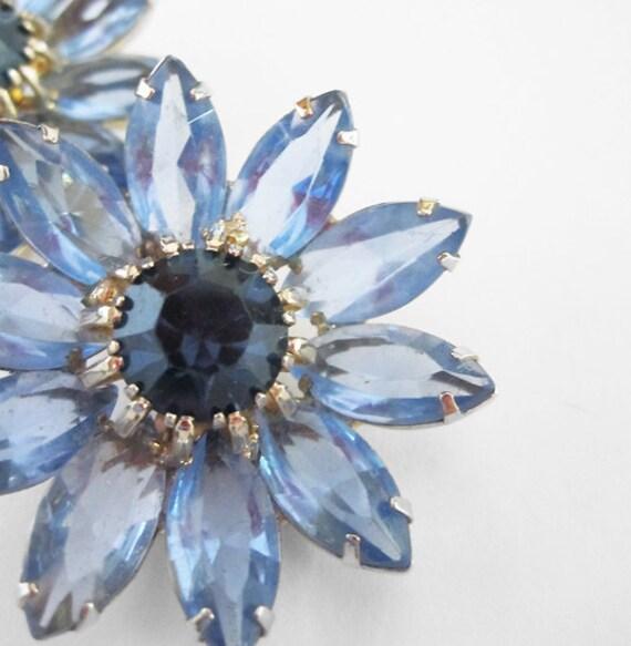 Reserved Weiss Vintage Blue Rhinestone Earrings
