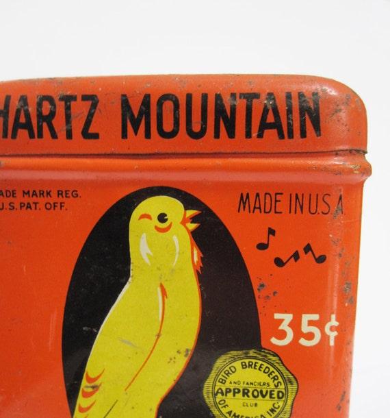 Vintage Hartz Mountain Song Food Tin