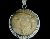 Saber Tooth Tiger, Pendant, Mammoth Tusk, Sterling Silver, one of a kind