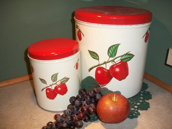1950s Decoware 2 piece metal canister set White with Red Apple and Green Leaf design