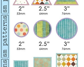 Machine Embroidery Design - Small Shape Appliques Pack - Immediate Download