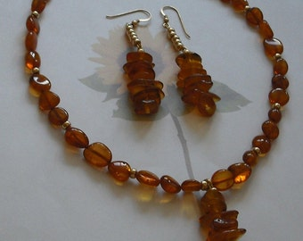 Semi-Precious Amber Necklace and Earring Set