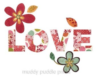 nursery Art, Nursery decor, art print, kids room art, word art - LOVE