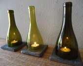 Upcycled Wine Bottle Candle Holder by ConversationGlass on UpcycleFever