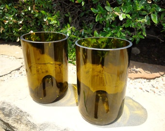Wine Bottle Glasses Recycled from Wine Bottles Set of 2