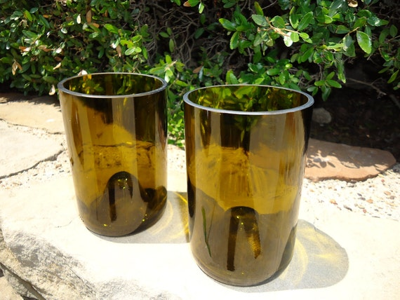 Wine Bottle Glasses Recycled from Wine Bottles Set of 2