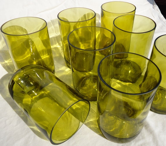 Upcycled Wine Bottle Glasses made from Recycled Yellow Wine Bottles 16oz  Set of 8