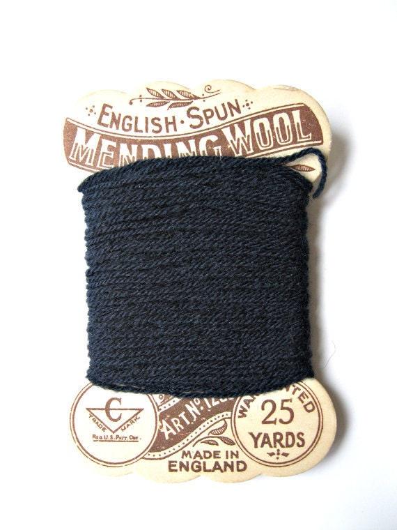 Antique English Spun Wool Mending Yarn Midnight Blue