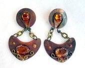 Rustic Copper Pierced Earrings - Medieval Times Style
