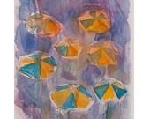 Watercolor painting-Art original-Rainy day watercolor painting