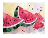 Art-Painting-Watercolor- fruits painting-Watermelon painting