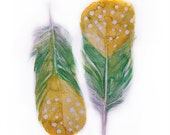 Feather watercolor-Original watercolor-Feathers in green and yellow