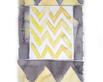 Watercolor painting -Chevron watercolor painting-Art original