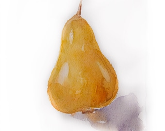 Watercolor painting-Watercolor pear-Painting of pear in watercolors