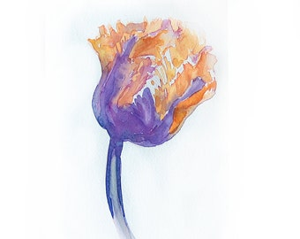 Watercolor painting original-Tulip painted by watercolor-Art original