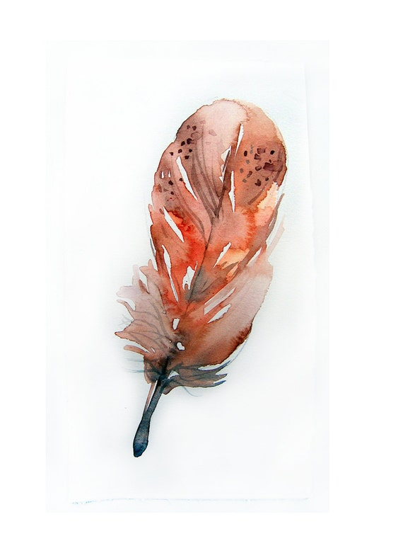 Feather painting-Watercolors painting-Original art