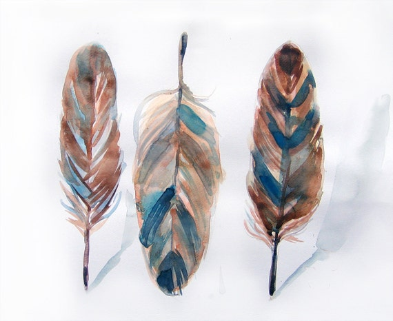 Feathers painting-Watercolors painting of feathers-Three feathers -watercolor illustration