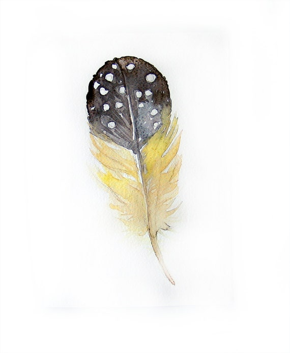 Watercolor painting of feather-Art original-Feather in grey and yellow-watercolor painting