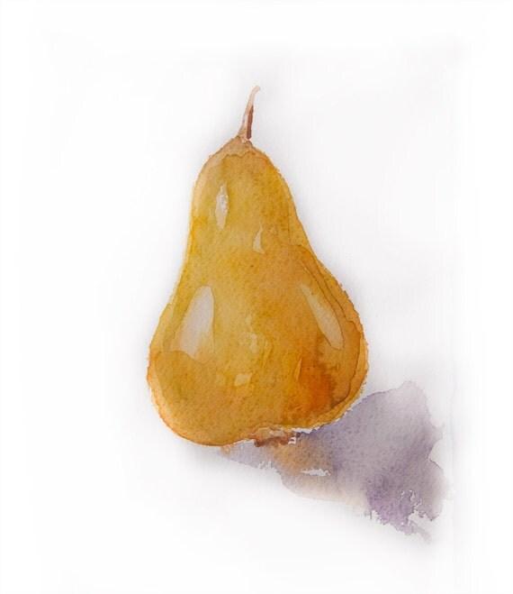Watercolor painting-Watercolor pear-Painting of pear in watercolors
