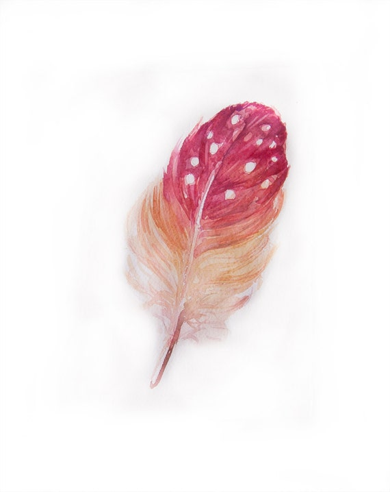 Watercolor painting-Feather painting in watercolor-Watercolor feather in pink and yellow