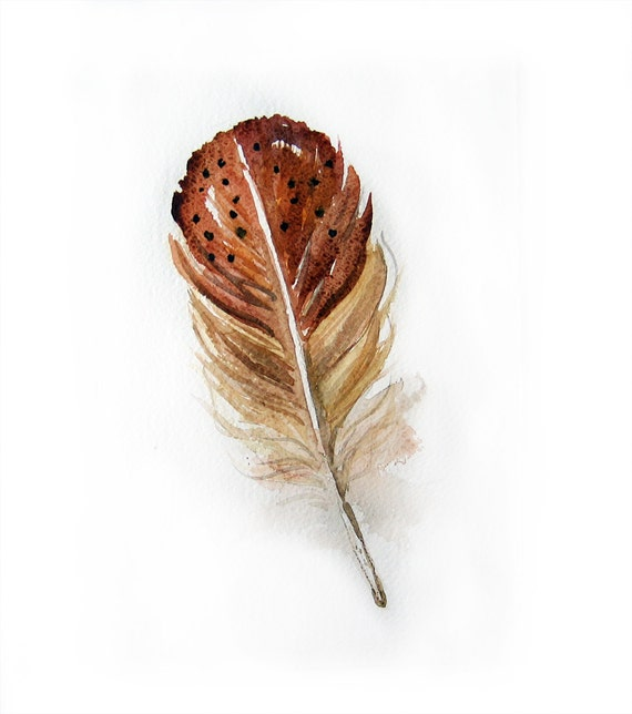 Watercolor Feather-Watercolor painting of feather-Feather painting-Feathers in brown and beige