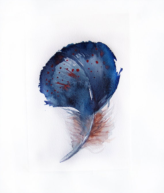 Watercolor painting of Feather-Feather painting of watercolor-Blue feather 7.5/11 inch-Art original-Wall art