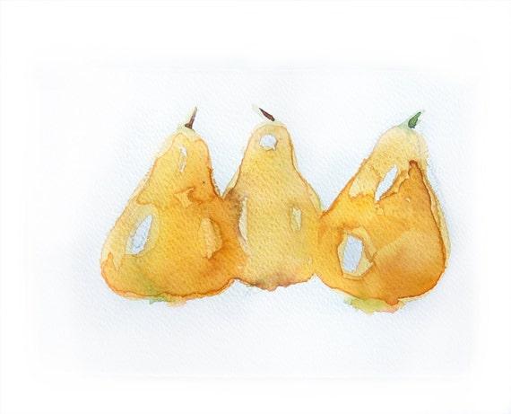 Watercolor painting of Pears-Watercolor  art original-Wall art-Yellow pears in watercolor