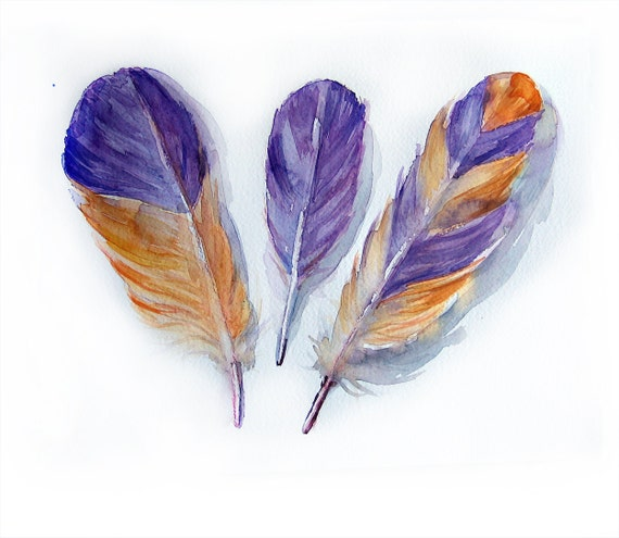 Feathers painting original-Art original-Feathers in violet and orange-wall art 10.5/14/5 inches