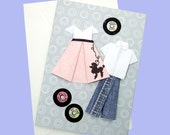 1950's CARD. Pink Poodle Skirt, Blue Jeans. 45 records: Elvis, Ricky Nelson, At the Hop.