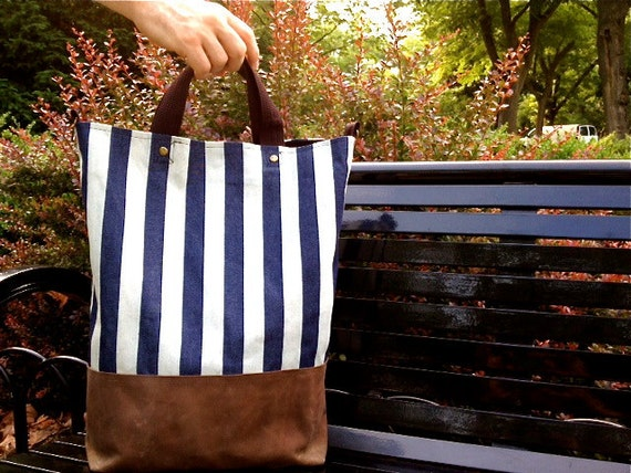 The Bernie: Striped Denim and Waxed Canvas Tote