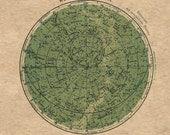 Celestial Chart Stars Northern Hemisphere Constellations Print Vintage Image