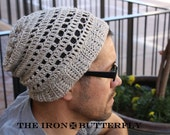Reversable SILK and Bamboo slouchy beanie- hobo hat.  Unisex.  Great for Autumn/Fall. Mens beanie-Heathered cream color.