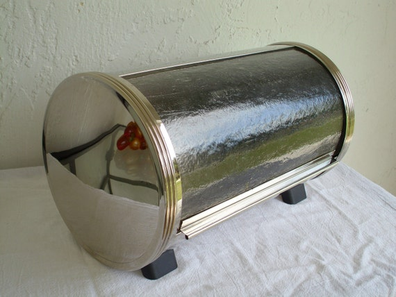 Super Chrome & Glass Space Age Cylinder Bread Box