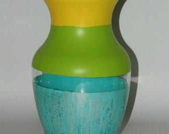 SALE! Multicolored glass vase.  Hand painted with glittery bottom.  Originally 50.00