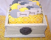 Journal Box - Yellow and Gray, Shabby Chic Box, Ready-to-Ship