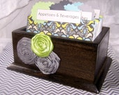 Recipe Box - Dividers and Cards - Green, Blue and Gray,  Charcoal stained box, Ready-to-Ship