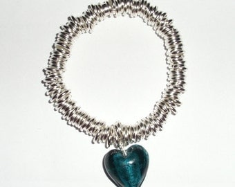 Multi-link Bracelet With Seagreen Heart Charm