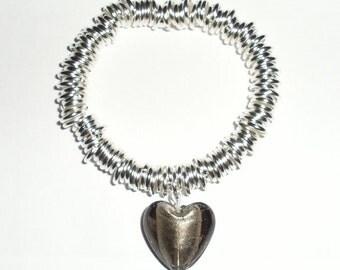 Multi-link Bracelet With Grey Heart Charm