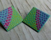 Square Pastel Dot Painting Earrings