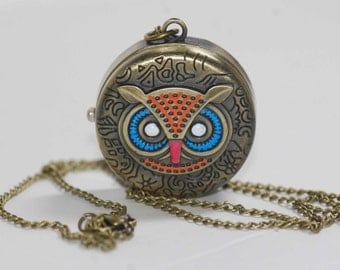 hand painted brass owl pocket watch necklace.