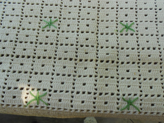 Reserved for Mary  ---  CLEARANCE TABLE DOILIE -Table Topper Green and White Square