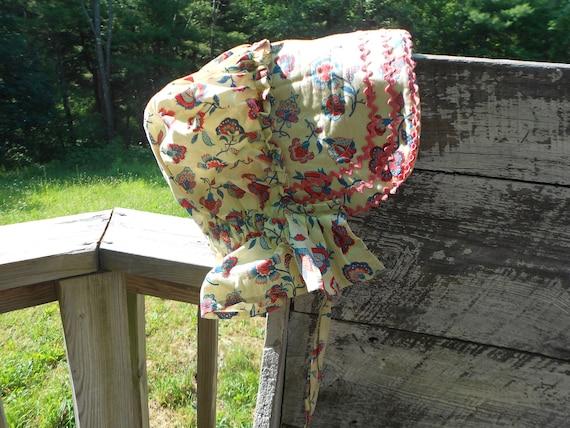 HAT - Bonnet - AMISH - Handmade Red White and Blue Bonnet